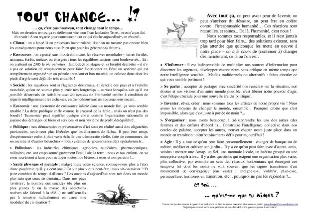 """tract """"tout change"""" (il peut changer lui aussi : nous écrire pour recevoir une version éditable!)"""