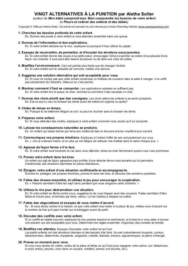 vingt alternatives à la punition